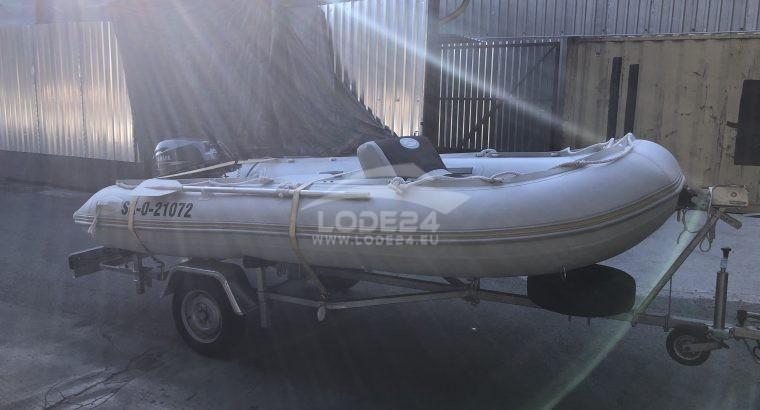 Gumový čln + motor + vozík